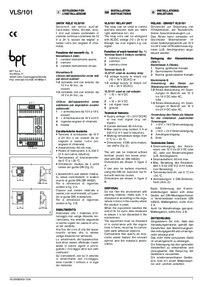 BPT VLS/101 installation manual