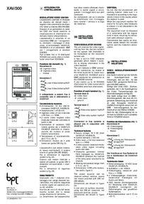 BPT installation instructions for XAV/300
