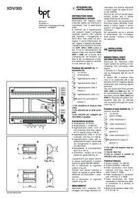 BPT XDV/303 installation instructions