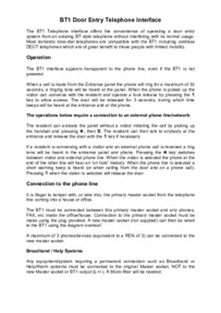 Bell (BSTL) BT1 Telephone Interface Instructions (PD-081 Iss 6).