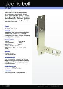 Data Sheet Alpro EB1001 Electric Bolt