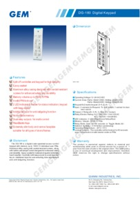 DG-180 Digital Keypad Brochure
