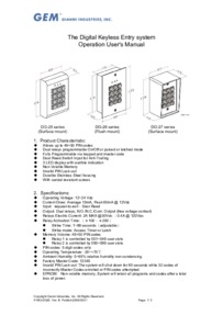 DG25 keypad User Guide