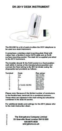 Entryphone installation instructions for DK-200V