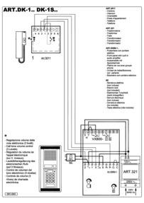 Videx DK1 Audio Wiring Diagram (3+n) - 1 x Entrance (with codelock), 1 x phone (3011), 321 PSU