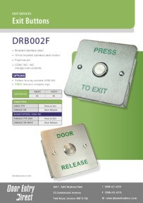 DRB002F Flush Mount Brushed SS Exit Buttons Brochure