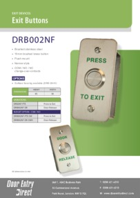 DRB002ND Flush Mount Narrow Brushed S/Steel Exit Buttons Brochure