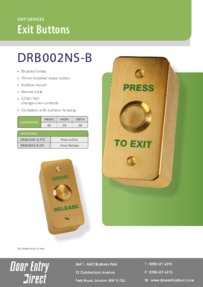 DRB002NS-B (DR/PTE) Surface Mount Narrow Brushed Brass Exit Buttons Brochure