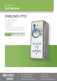 DRB2ND-PTO Narrow Brushed S/Steel Exit Button Brochure