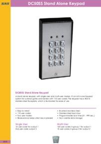 SRS - DC50 Stand Alone Keypad - Datasheet - Jan 2018