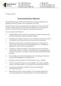 Environment Statement and Policy 20110201