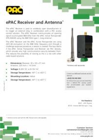 Pac - ePac Receiver and Antenna Datasheet - Sep 2017