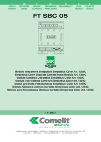 Comelit Simplebus Colour Separate Camera Input Module Art. 1259C - Technical Manual