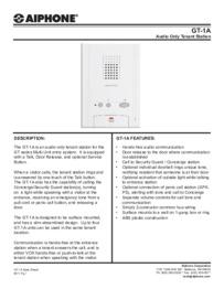 Aiphone GT-1A data sheet