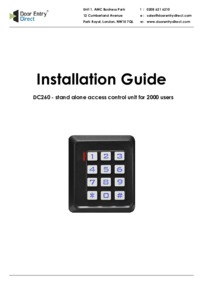 SRS DC260 - Single Door Access Control - Installation Guide