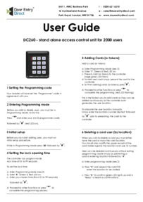 Instructions DC260        User Guide