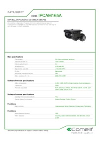Comelit IPCAM165A data sheet