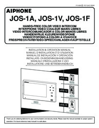 Aiphone JO Series Instruction and user manual