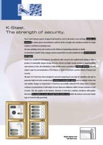 Urmet K-Steel data sheet