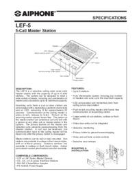 Aiphone LEF-5 data sheet