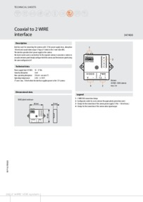 Bticino 347400 data sheet