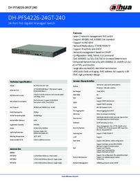 Dahua 24 port PoE switch datasheet