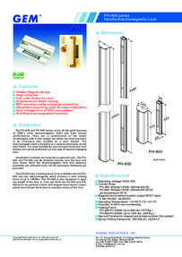 PH400 & PH800 door handle magnet data sheet