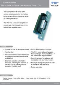 Adams Rite Electric Strike for Double Leaf Aluminium Doors 7101 brochure