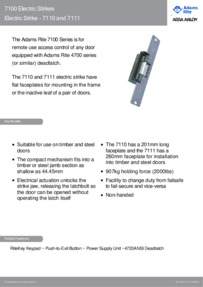 Adams Rite Electric Strike 7110 and 7111 brochure