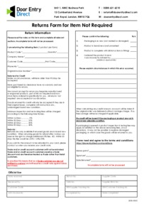 Returns Form - Item Not Required - (send with returned goods)