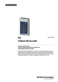 Siemens Bewator K42 Codelock