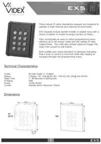 Videx EX5 Keypad Technical manual