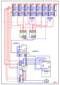 Videx Video (coax) system - 1 entrance, 1 button panel (837/1 + 830) calling 8 monitors (901) in parallel.