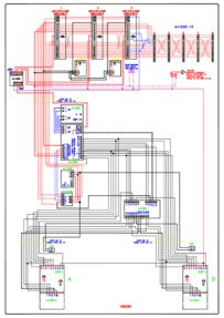 Videx Video (coax) system - 2 entrance, 1 button panel (837/1 + 830) calling 3 monitors (901) & 5 phones (928) in parallel.