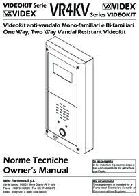 Videx 4000 series - vandal resistant video kits