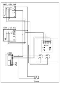 Videx 536 series VR Audio Wiring Diagram - 1 x VR Entrance, 2 x phones (924, SMART1), 520 PSU