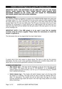 Videx VX2200/VX2300 Programming Guide