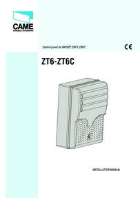 Came ZT6 - ZT6C control board installation manual