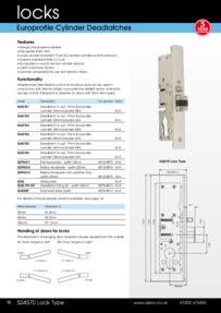Alpro Europrofile Cylinder Deadlatch Datasheet